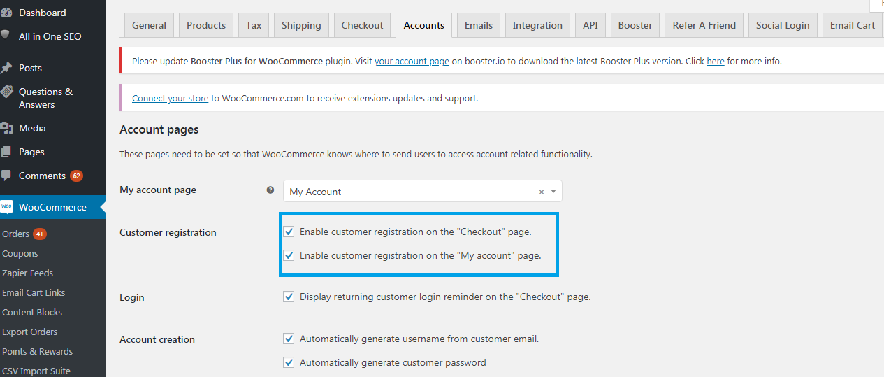 Customer registration on Checkout Page