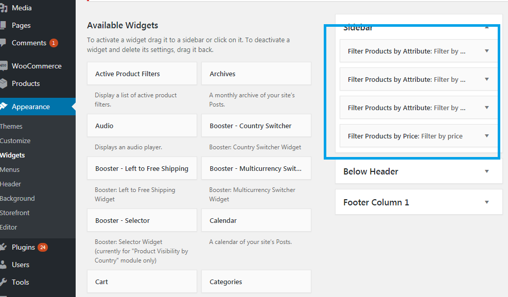 Adding widgets to the sidebar