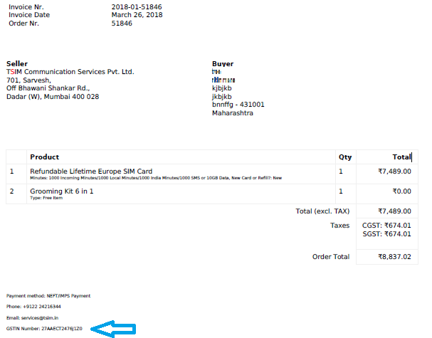 Customer invoice with your own GST number