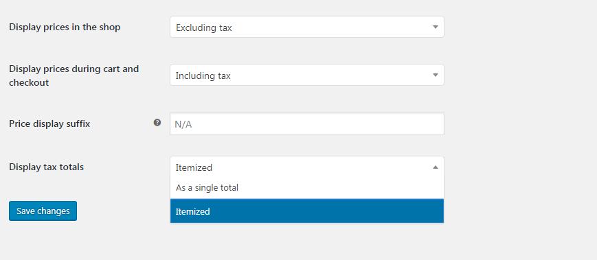 Display tax totals