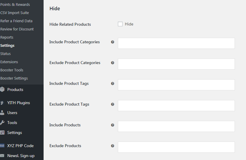 Hide related products