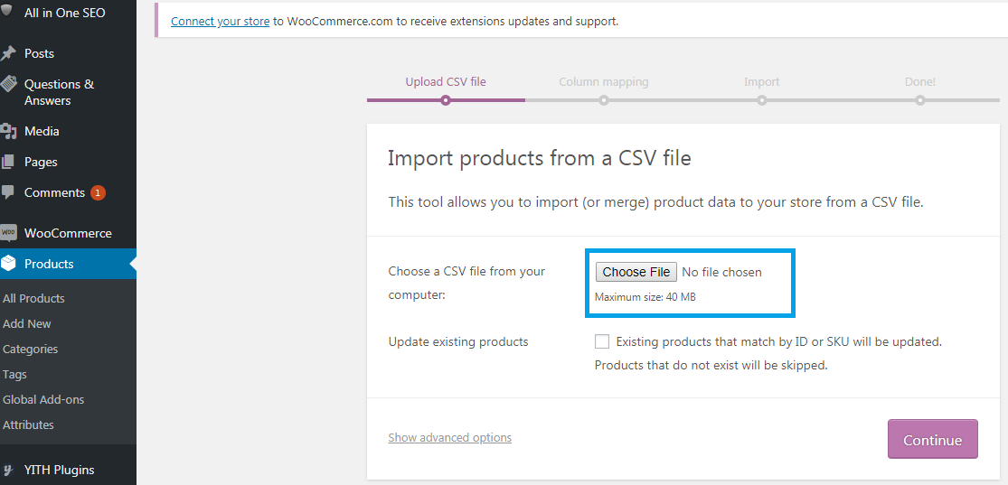 Importing products using a CSV file