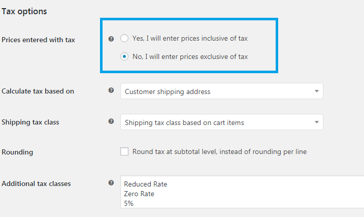 Prices entered with tax