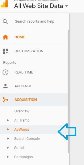 Adwords tracking in Google Analytics