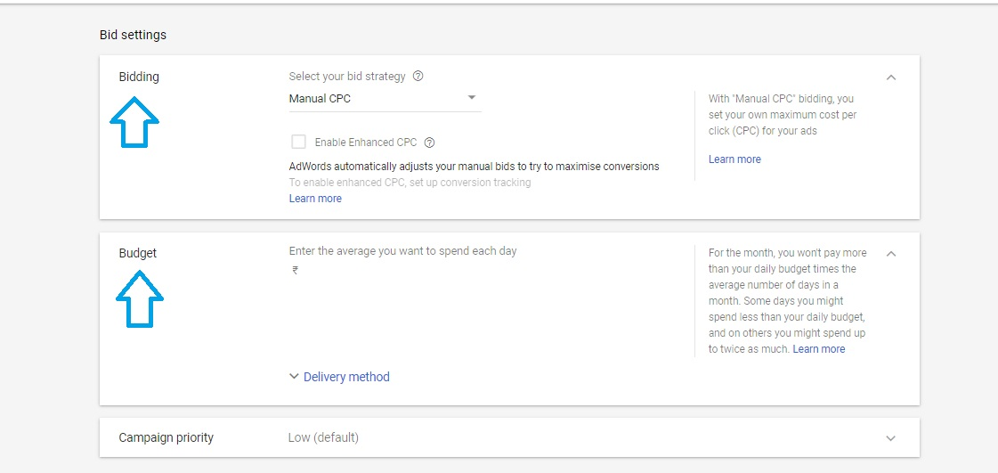 Bid settings in Google AdWords