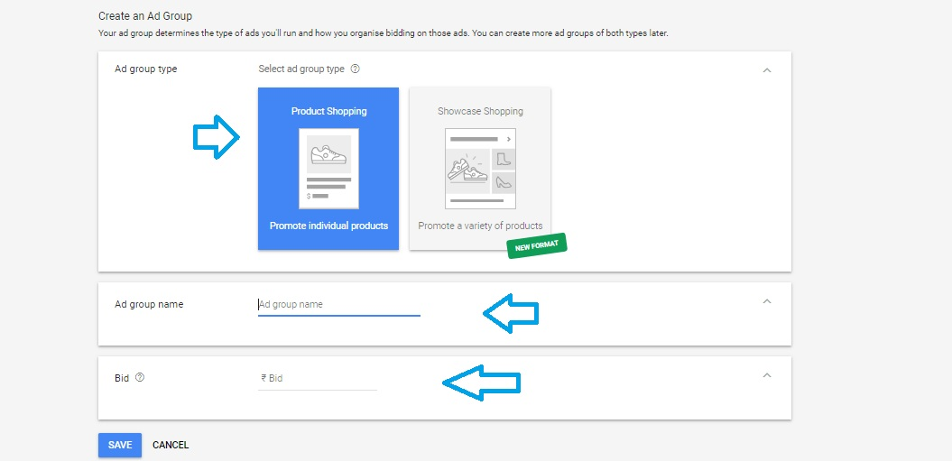 Creating an ad group in AdWords