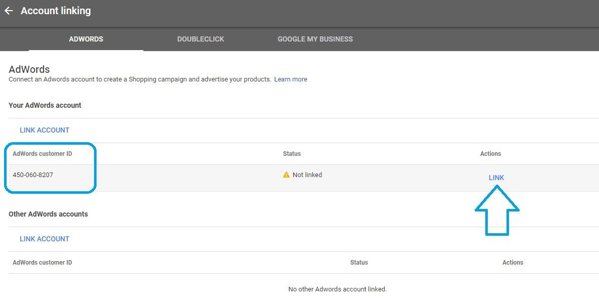 Linking Google Merchant account to AdWords