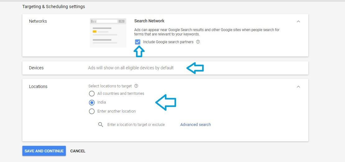 Targeting settings in Adwords