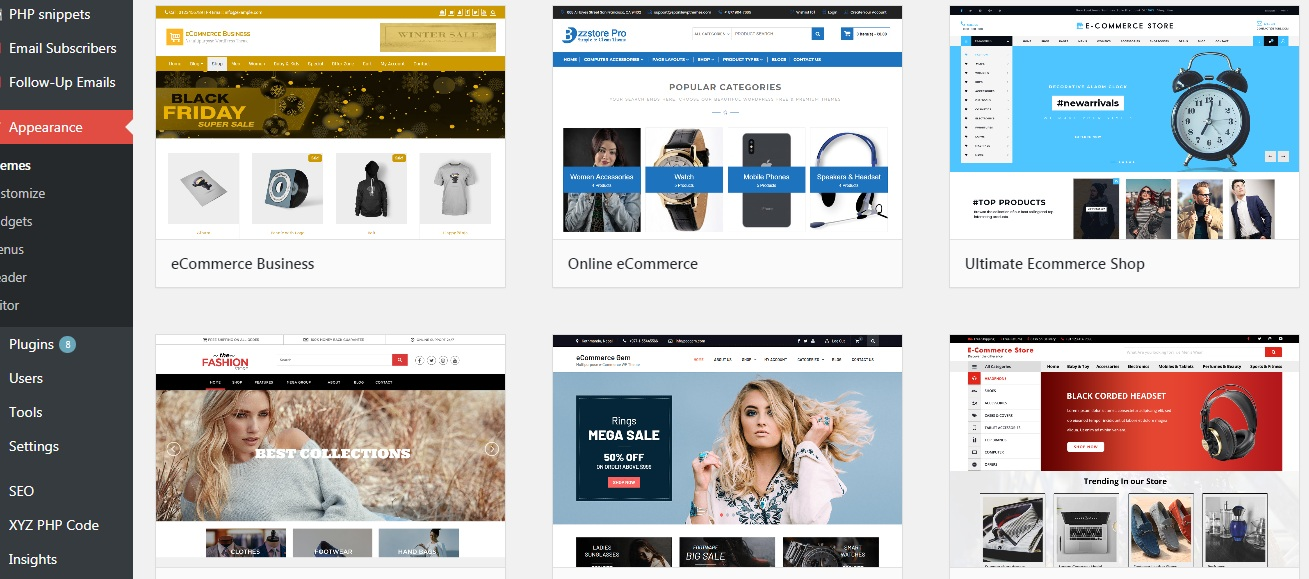 WooCommerce layouts